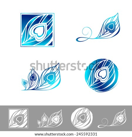 Illustration of Peacock Feather Logo Design Collection - stock photo