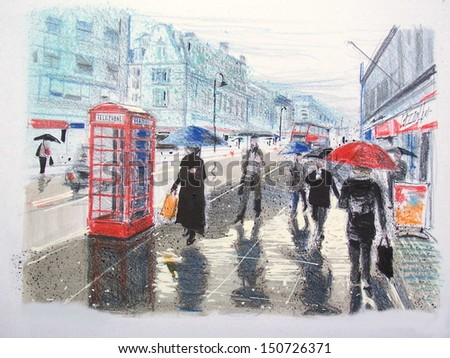 Illustration of pedestrians in rain along Regent Street, London England. Reflections on wet sidewalk, red telephone boxes, and umbrellas in this typically English scene.  - stock photo