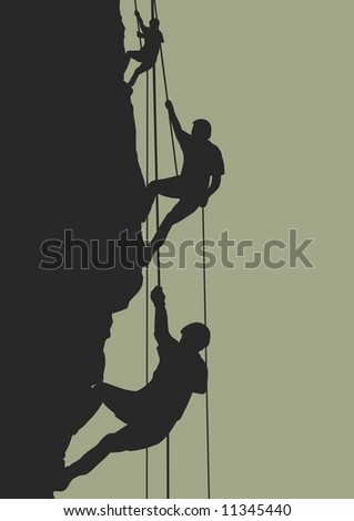 Illustration of people climbing mountain