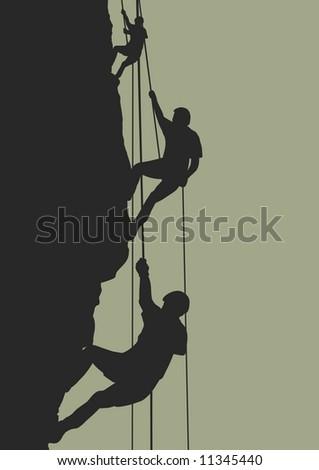 Illustration of people climbing mountain - stock photo