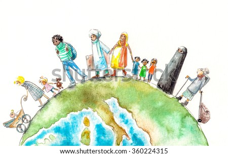 Illustration of people different nationalities going on a Earth.Picture created with watercolors. - stock photo