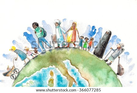 Illustration of people different nationalities going on a Earth.Picture created with watercolors - stock photo