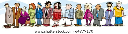 Illustration of people in queue - stock photo