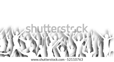 Illustration of people jumping in celebration with copy-space