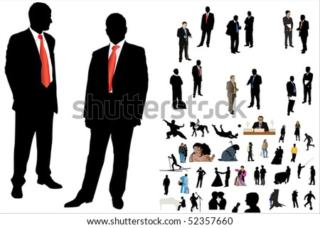 illustration of 50 people silhouette under the white background