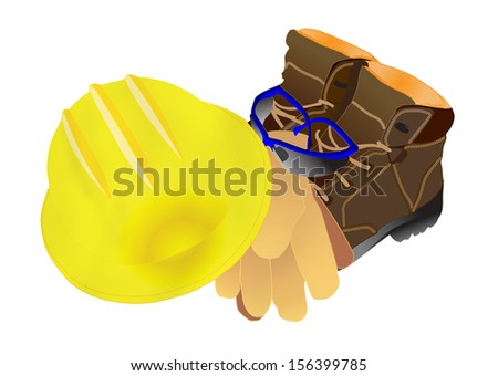 illustration of personal protective equipment including leather boots, safety glasses, gloves and hardhat - stock photo