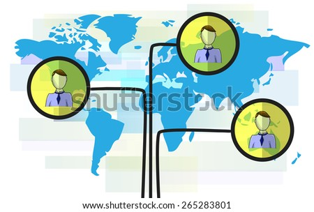 Illustration of persons on blue world map isolated on white background - stock photo