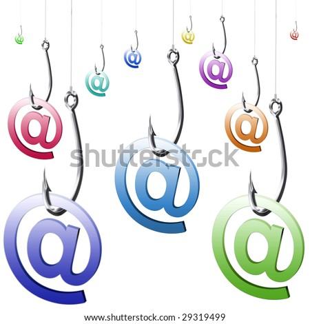 Illustration of phishing fraud online via e-mail - stock photo
