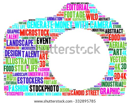 Illustration of photography genre concept in modern word cloud