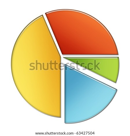 illustration of pie chart on an isolated background - stock photo
