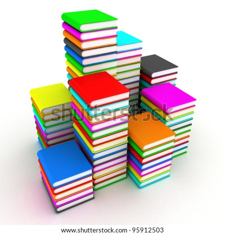 Illustration of pile of books on a white background