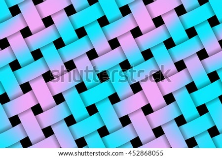 Illustration of pink and cyan weaved pattern - stock photo