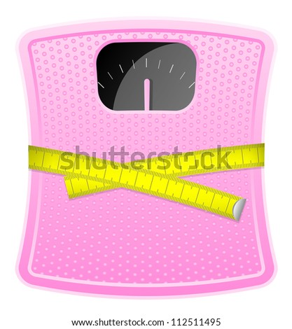 Illustration of  pink bathroom scale with measuring tape - stock photo