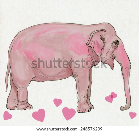 Illustration of pink elephant with hearts. Handmade ink drawing on watercolor paper. - stock photo