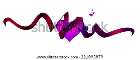 Illustration of 2 pink glossy hearts and a red ribbon - stock photo