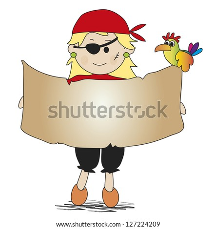 illustration of pirate with treasure map - stock photo