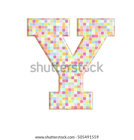 Illustration of pixel font letter english alphabet on a transparent wipe board.