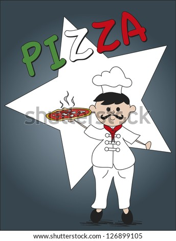 illustration of pizza chef in grey background