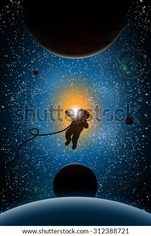 illustration of planets and sun,astronaut, sunrise in space, space design, universe concept, space research