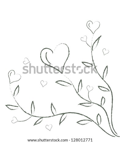 Illustration of plant of hearts - stock photo