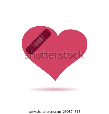 Illustration of plaster patched heart icon. Love wound concept - stock photo