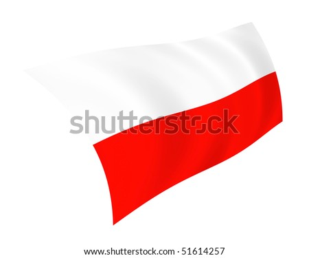 Illustration of Poland flag waving in the wind