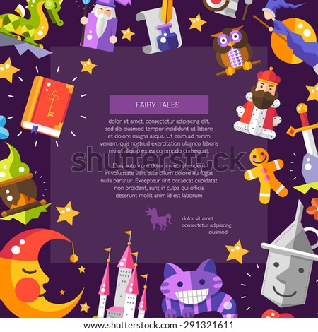 Illustration of postcard with fairy tales flat design magic icons and elements - stock photo