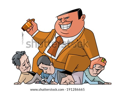 Illustration of Powerful man crushing the weaker - stock photo