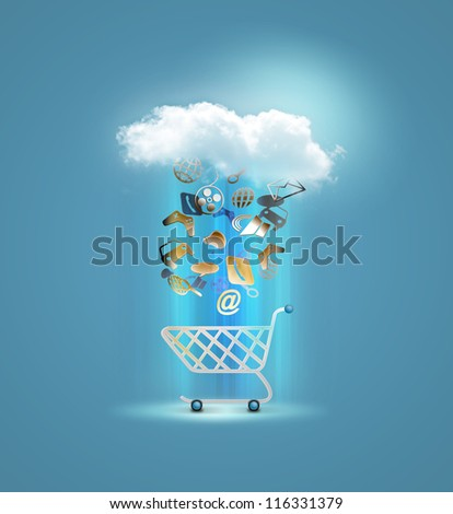 illustration of product coming in a shopping cart showing big sa - stock photo