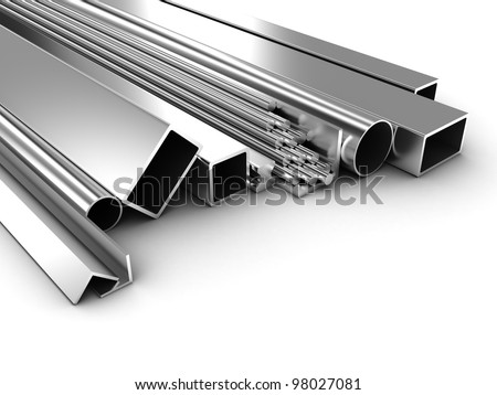Illustration of products of the different form from metal - stock photo