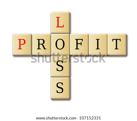 illustration of profit and loss crossword cubes - stock photo