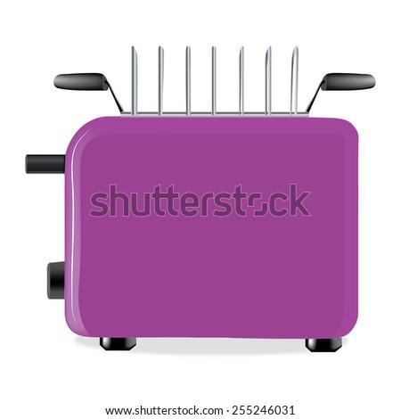 Illustration of purple toaster - stock photo