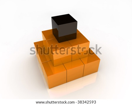 Illustration of pyramid from cubes (orange collection)