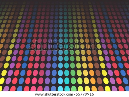 Illustration of rainbow colored dots on black
