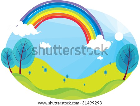 illustration of rainbow on bright blue sky