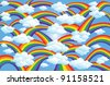 Illustration of rainbows and clouds - stock photo