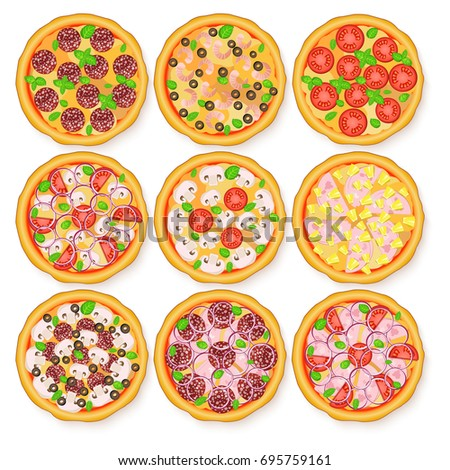 Illustration of realistic pizza set. Margherita, Pepperoni, Hawaiian, Mexican, Mushroom, Seafood adn other pizzas for the menus and banners pizzerias, cafes, and other design projects.