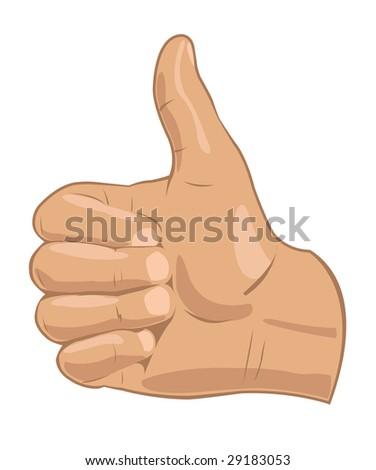 Illustration of realistic thumbs up symbol. Vector in my portfolio - stock photo