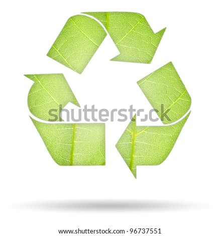 illustration of recycle symbol with green leaf - stock photo
