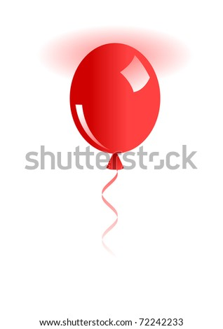 Illustration of red balloon isolated on white. Raster version. Vector version is in my gallery. - stock photo