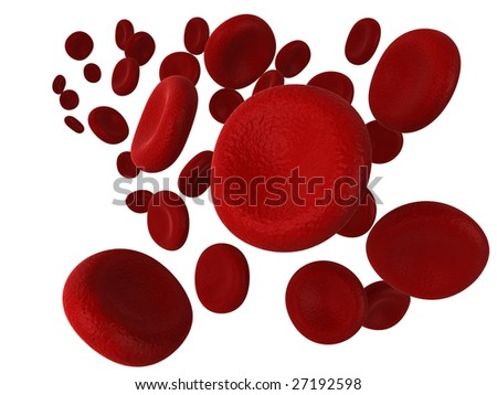 Illustration of red blood cells, isolated on a white background. - stock photo