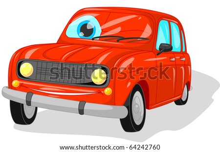 illustration of red car.clipping path included.