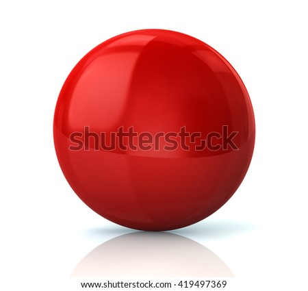 Illustration of red glossy button isolated on white background - stock photo