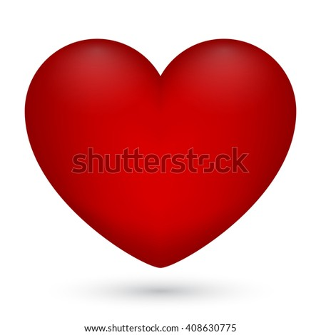 Illustration of red heart on white background for Valentine's Day. - stock photo