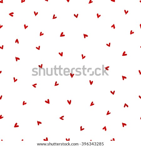 Illustration of red hearts pattern. Watercolor hearts seamless pattern. Hand drawn. Isolated on white background. - stock photo