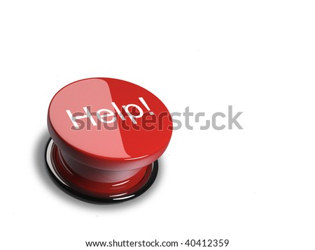 Illustration of red help button - 3d render