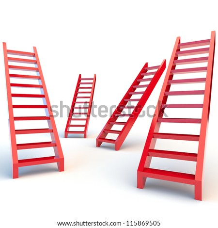 Illustration of red ladders on white background - stock photo