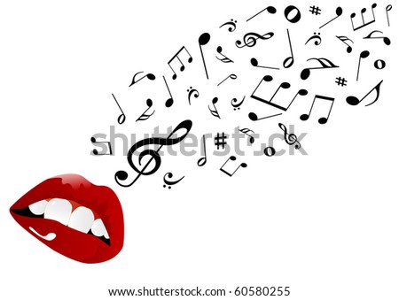 Illustration of red lips singing - stock photo