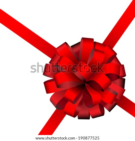 Illustration of red present packing ribbon isolated on white background