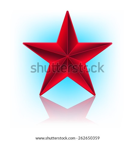illustration of red star. raster version - stock photo